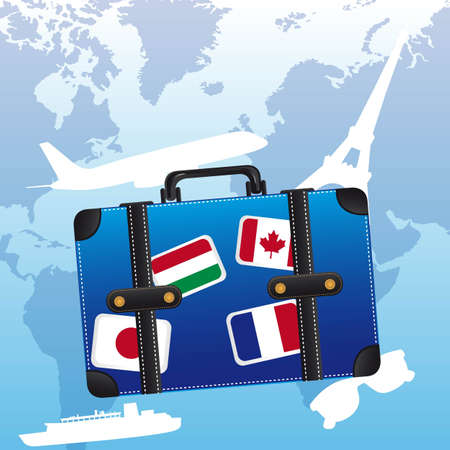 blue suitcase with flags over blue background. Vector
