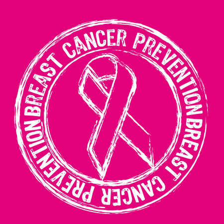 cancer ribbon: white breast cancer prevention stamp over pink background.