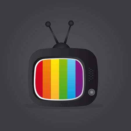 TV icono sobre fondo gris. ilustración Ilustración de vector