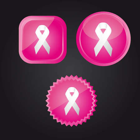 beautiful breasts: white awareness ribbons over pink buttons over black background.