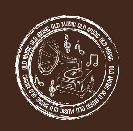 old music stamp isolated over brown background. vector Vector