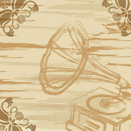 grunge gramophone  with ornament. vector illustration