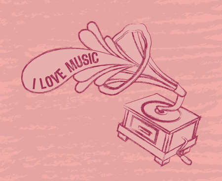 pink grunge gramophone, i love music. vector illustration Vector