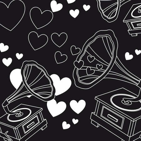 black and white love music, hearts. vector illutration Vector