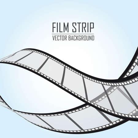 video screen: film stripes over blue background. vector illustration
