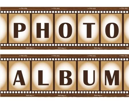 filmroll: two old film stripes, photo album. vector illustration