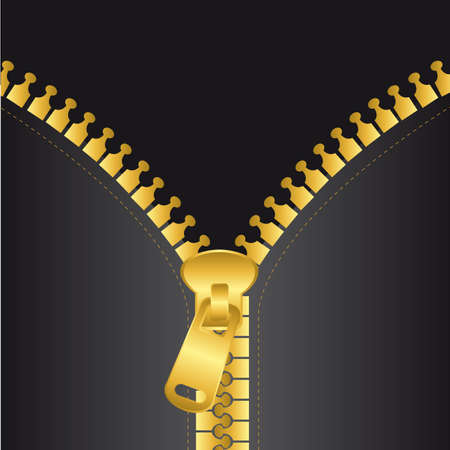 unbuttoned: gold zip vector with black jacket, background. vector illustration