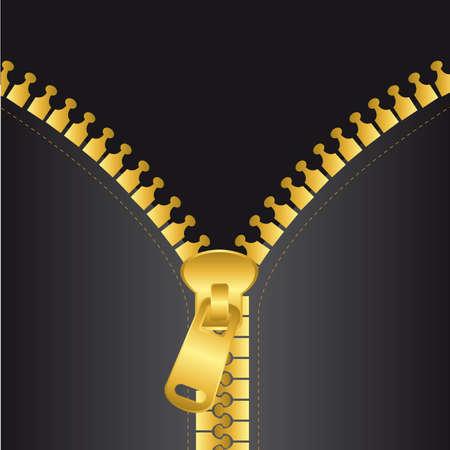goud zip vector met zwarte jas, achtergrond. vectorillustratie