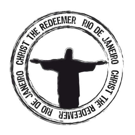 christ the redemer rio de janeiro stamp isolated over white background. vector
