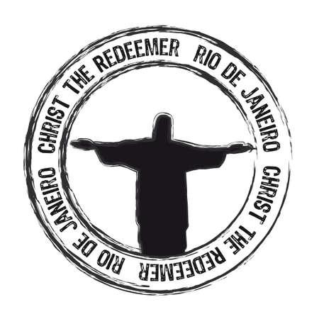 Cristo Redemer R�o de Janeiro sello aislado sobre fondo blanco. vector