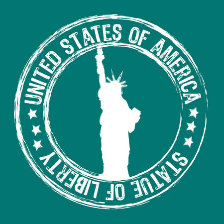 citizenship: statue of liberty stamp isolated over aquamarine background. vector