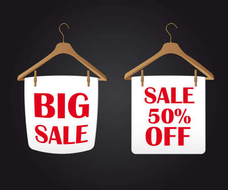 coat rack: big sale clothes hanger over black backgrogund. vector Illustration