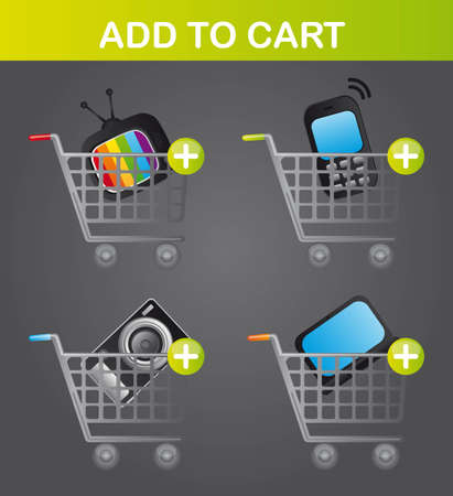 business elements over carts over gray background. vector Vector