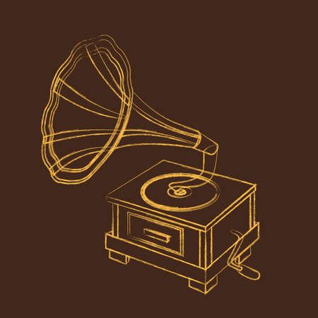 grunge gramophone over brown background. vector illustration Vector
