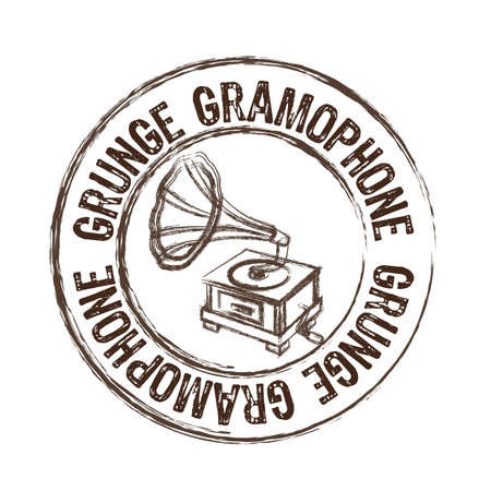 grunge gramophone stamp isolated over white background. vector Vector
