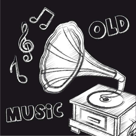grunge gramophone with musical notes over black background. vector Vector