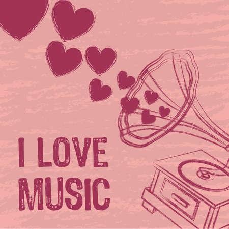 de color rosa me encanta la música de fondo, el gramófono. ilustración vectorial