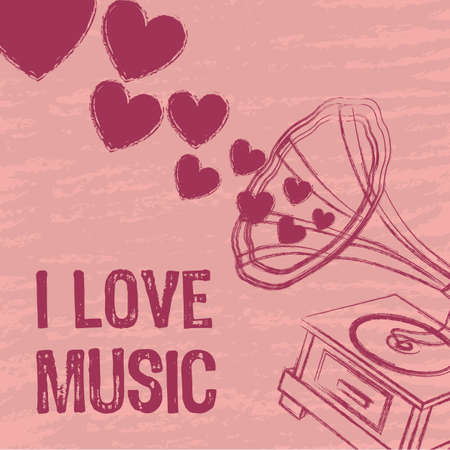 pink i love music background, gramophone. vector illustration Vector