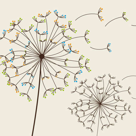 posterity: cute dandelions over beige background. vector illustration