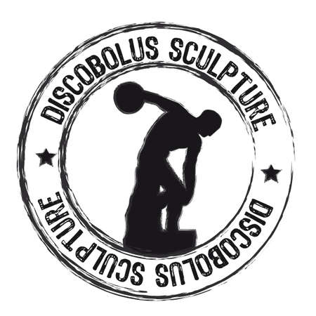 discobolus sculpture stamp isolated over white background. vector Vector