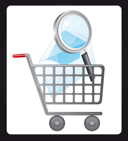 magnifyng glass over shopping cart. vector illustration Vector