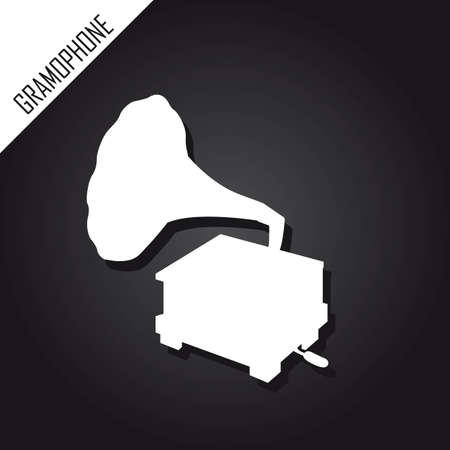 silhouette gramophone over black background. vector Stock Vector - 12755223