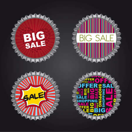 bottle caps with sale text over black background. vector Vector