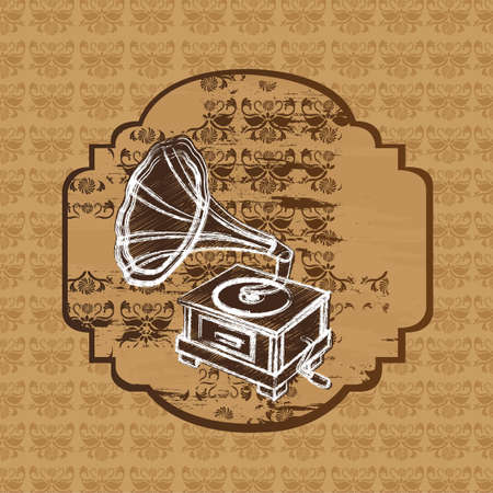 grunge gramophone over ornament background. vector Vector