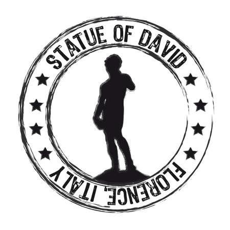 stella di davide: Statua del David francobollo isolato su sfondo bianco. vettore