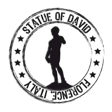 david and goliath: statue of david stamp isolated over white background. vector