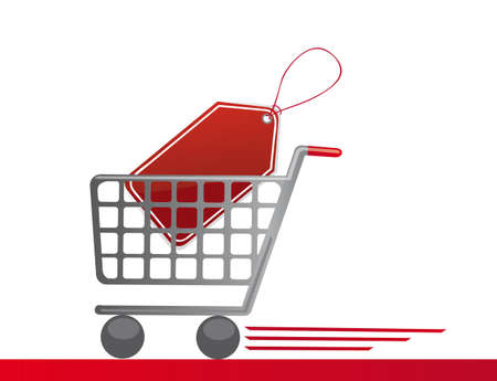 supermarket checkout: shopping cart with tag, background. vector illustration