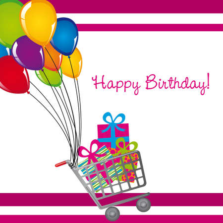 shopping cart with gifts and balloons, birthday. vector Vector