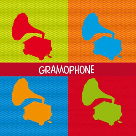 music machine: four colorful gramophone, pop art. vector illustration Illustration