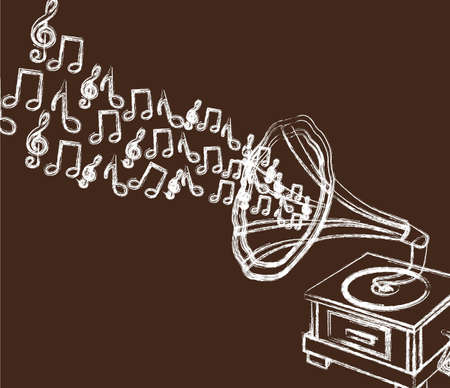 grunge gramophone isolated over brown background. vector Vector