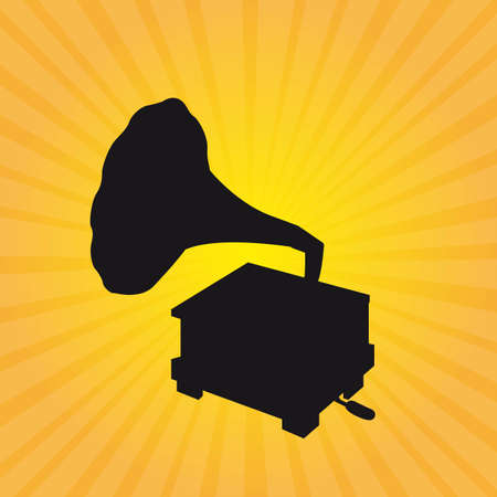 phonograph: silhouette gramophone over yellow background. vector