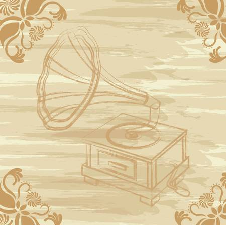 antiquities: grunge gramophone with ornaments. vector illustration