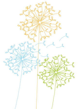 cute dandelions isolated over white background. vector illustration