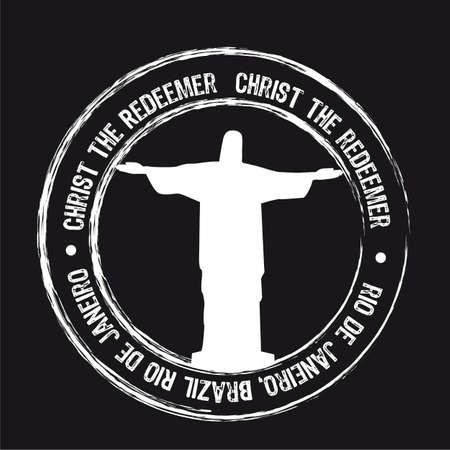 christ the redeemer stamp, de janeiro. vector illustration