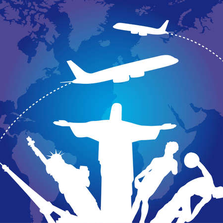 sculptures with airplanes over blue background. vector