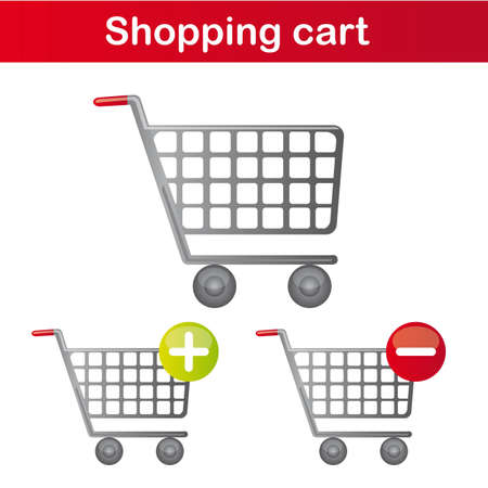 chrome cart: shopping cart isolated over white background. vector Illustration