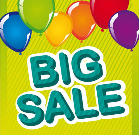 big sale with balloons over green background. vector Vector