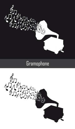 gramophone with musical notes, black and white. vector Stock Vector - 12755470