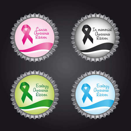 beautiful breasts: bottle caps with awareness ribbons over black background. vector Illustration