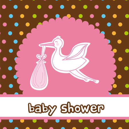 baby shower card with stork, girl. vector illustration Vector