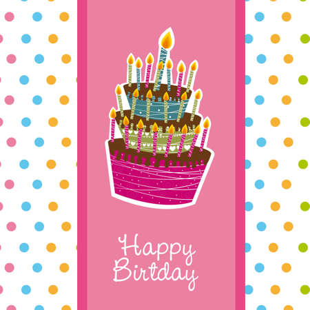 happy birday with cute cake, woman. vector illustration Vector