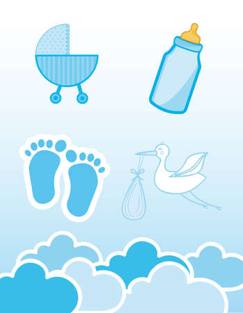 baby boy shower: blue icons baby shower, boy. vector illustration