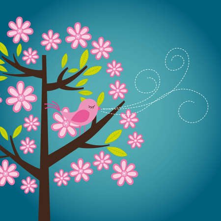 cute bird over tree with flowers, card. vector illustration Vector