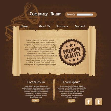 web browsing: brown website design, ornament. vector illustration Illustration