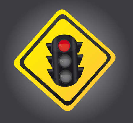 traffic light over yellow sign background. vector illustration Vector