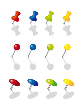 red pin: colorful push pin collection over white background. vector